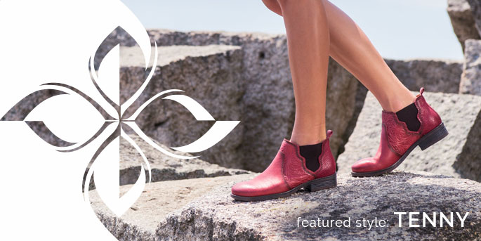 Featured Style: Tenny bootie, shown in red leather with red snake print leather
