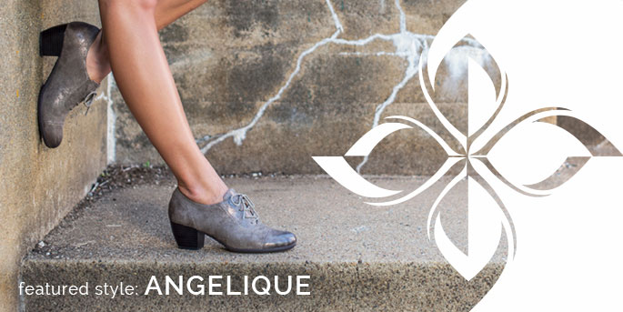 Featured Style: Angelique oxford heel, shown in smoke gray embossed metallic leather