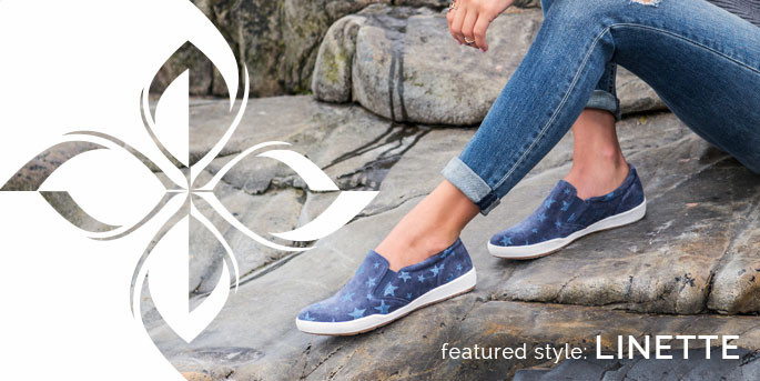 Featured Style: Linette sneaker, shown in blue star print suede