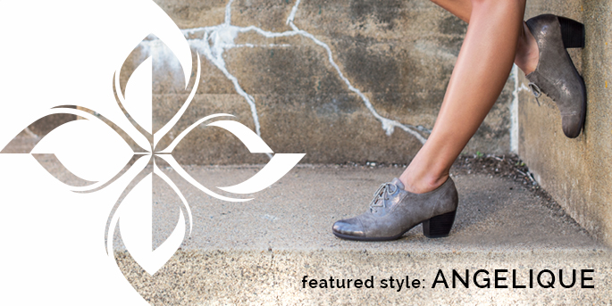 Featured Style: Angelique boot, shown in smoke grey embossed metallic suede