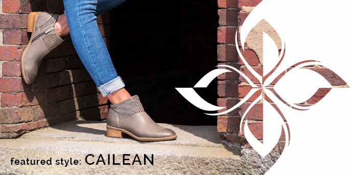 Featured Style: Cailean boot with pattern upper, shown in taupe full-grain leather