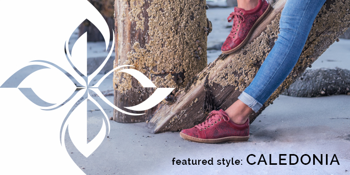 Featured Style: Caledonia sneaker, shown in red-russet red paisley print leather with full-grain leather trim