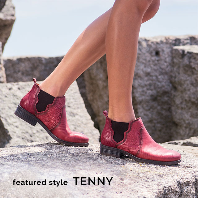 Featured style: Tenny in red floral and snake-print leather