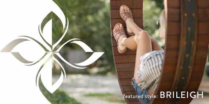 Featured Style: Brileigh huarache, shown in sand multicolor
